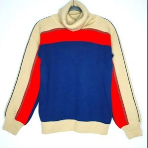 Vintage 90s Wool Blend Knit Color Block Ribbed Turtleneck Sweater, Large